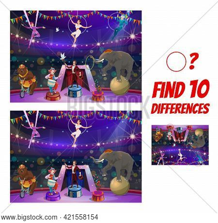Kids Game With Circus Performers. Find Ten Differences Maze, Cartoon Vector Clown Characters , Tamer