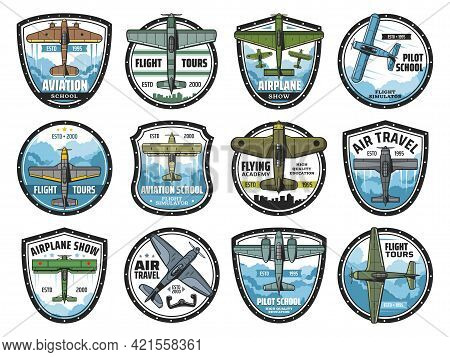 Aviation School Vector Icons. Vintage Planes With Propellers Flying In Sky, Airplane Pilot Training,