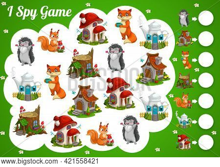 Kids Spy Game Cartoon Fairy Houses And Animals. Vector Educational Test With Cute Forest Characters