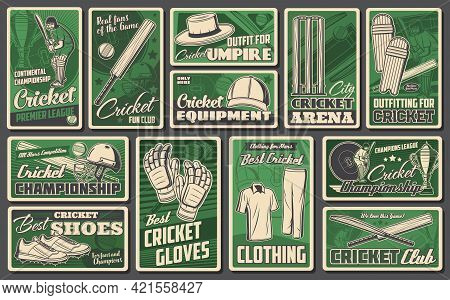 Cricket Sports Game Vector Retro Banners. Sportsman Player On Stadium Field And Equipment Cricket Ba