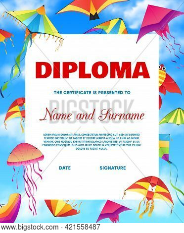 Kids Diploma With Vector Kites Flying In Cloudy Sky Frame Background. Student Certificate Of Educati