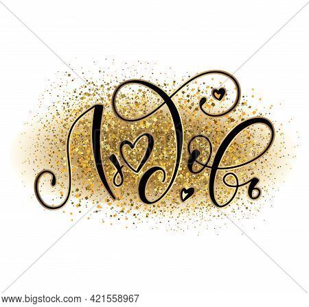 Love - Russian Lettering With Gold Background, Black Calligraphy With Bright Sparks