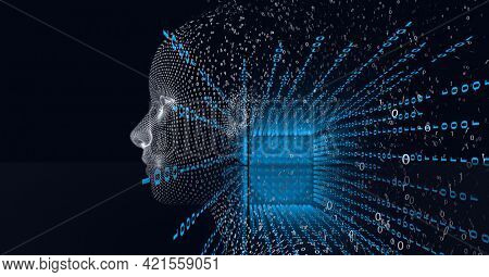 Composition of human bust over processor and binary coding processing. global technology, data processing and connections concept digitally generated image.