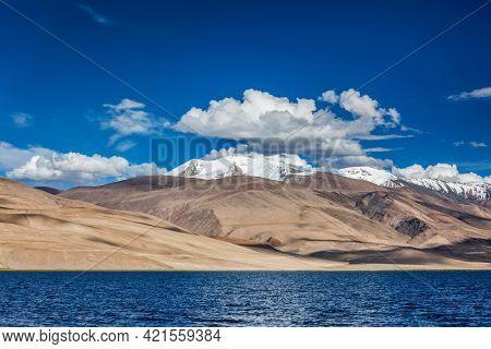 Himalayan lake Tso Moriri (official name Tsomoriri Wetland Conservation Reserve), Korzok, Changthang area, Ladakh, Jammu and Kashmir, India