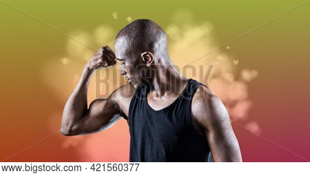 Composition of muscular strong african american man flexing biceps. sport, fitness and active lifestyle concept digitally generated image.