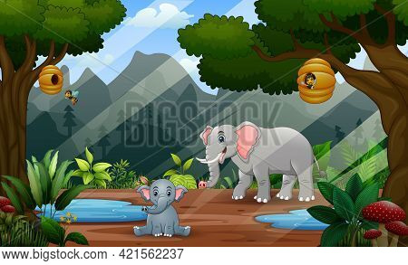 Happy Mother Elephant With Her Cub In The Jungle Illustration