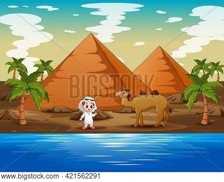 Caravan Is Herding Camels In The Desert