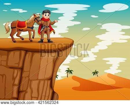 Cartoon A Prince With His Horse Standing On The Cliff