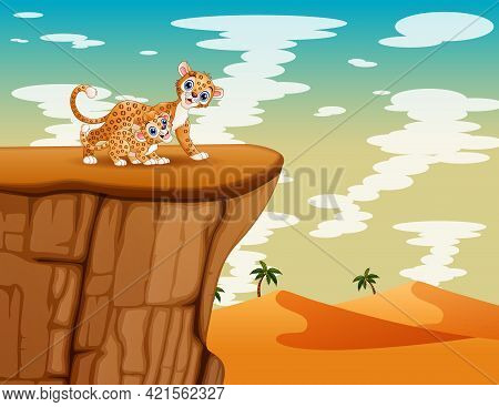 Happy A Mother Leopard With Her Cub Playing On The Cliff