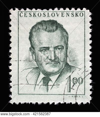 ZAGREB, CROATIA - SEPTEMBER 18, 2014: Stamp printed in Czechoslovakia shows a portrait of President Klement Gottwald, circa 1952