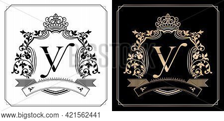 Yv Royal Emblem With Crown, Set Of Black And White Labels, Initial Letter And Graphic Name Frames Bo