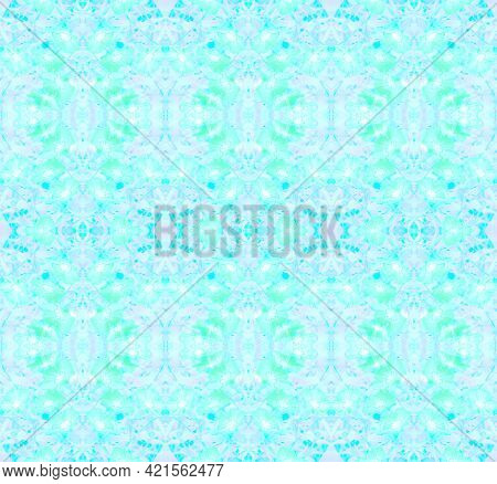 Seamless Illustration Of Floral Ornament, Shades Of Blue, Aquamarine And Cyan (sea Wave)