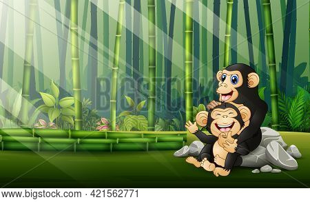 Happy Chimpanzee With Her Cub In The Bamboo Forest