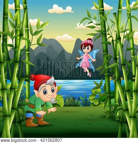 Cartoon A Dwarf And Fairy In The Nature Landscape