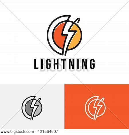 Lightning Thunderbolt Circle Line Power Energy Logo.