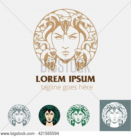 Medusa Circle Insignia Vector Illustration Line Art Style