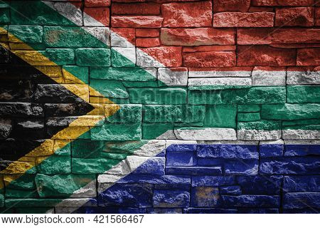 National Flag Of South African Republic On Stone  Wall Background.the Concept Of National Pride And