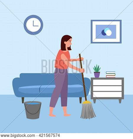Housewife Cleaning Floor In Living Room In Flat Design. Woman Doing Housework Concept.