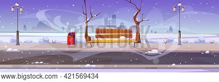 Winter City Park With Wooden Bench, Bare Trees, Blizzard And Snowdrifts Around, Lanterns, Bin And To