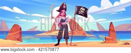 Girl Pirate On Beach With Jolly Roger Flag And Sword. Young Sexy Woman In Filibuster Captain Costume