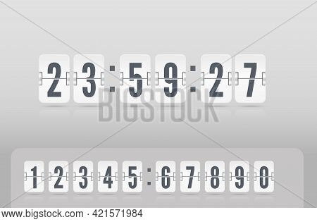 Analog Airport Board Countdown Timer. Vector Vintage Flip Clock Time Counter. Floating White Scorebo