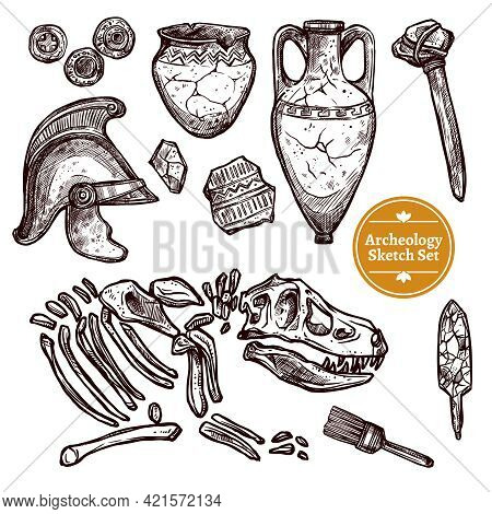 Archeology Hand Drawn Sketch Set Of Paleontological And Archaeological Ancient Finds Isolated Vector