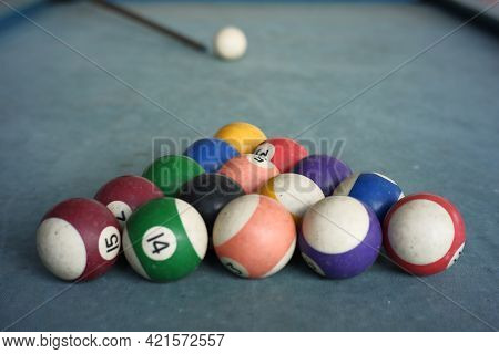 The Billiard Ball Formation Forms A Triangle. Billiard Game Using Fifteen Balls. Game Table With Blu