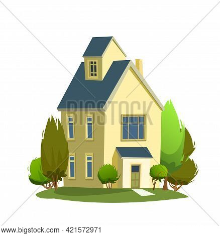 Rural Yellow House In The Meadow. Half Turn. Cheerful Cartoon Flat Style. Isolated On White Backgrou