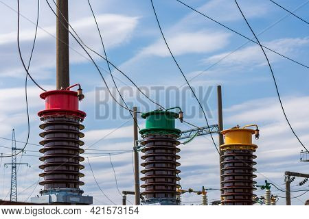 Detail Of High Voltage Circuit Breaker In A Power Substation.high Voltage Circuit Breaker In A Power