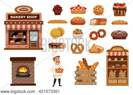 Bakery Icons Set With Cook Figurine Bakery Shop And Baked Goods Collection Flat Isolated Vector Illu