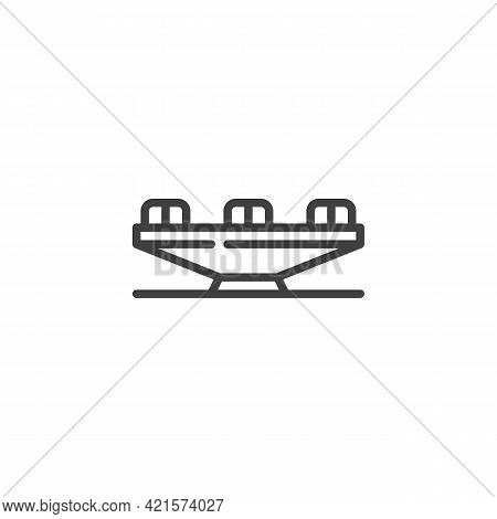 Playground Carousel Line Icon. Linear Style Sign For Mobile Concept And Web Design. Children Carouse