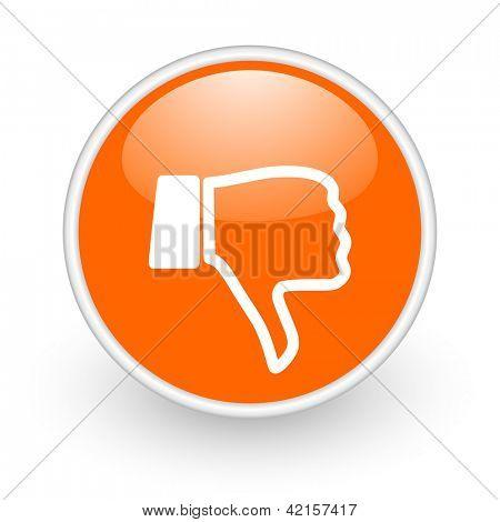 thumb down orange circle glossy web icon on white background