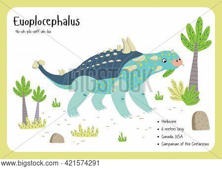 Dinosaur Fact Flash Cards - Dinosaur Names Corresponding To The English Alphabet. Cute Colorful Vect