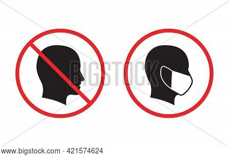 No Entry Without Face Mask Icon. Vector Illustration.