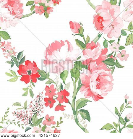 Beautiful Vector Seamless Pattern With Hand Drawn Watercolor Summer Pink Gentle Flowers. Stock Flora