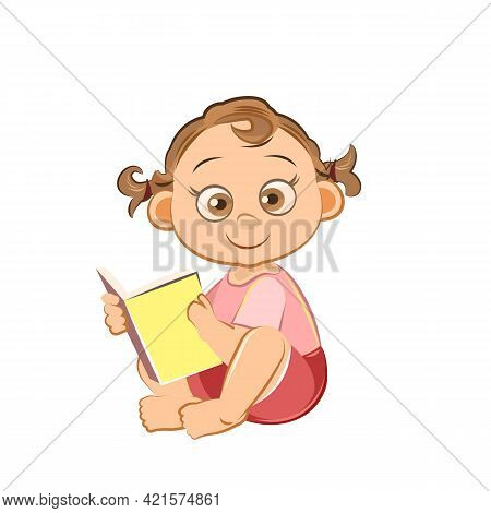 Little Child. Girl. Sits Reading A Book. Isolated Object On A White Background. Cheerful Kind Funny.
