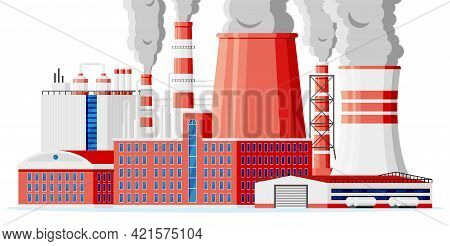 Factory Icon Building. Industrial Factory, Power Plant. Pipes, Buildings, Warehouse, Storage Tank. M