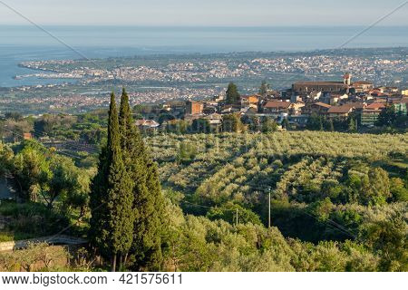 Beautiful sicilian landscape with Piedimonte Etneo town, Sicily, Italy