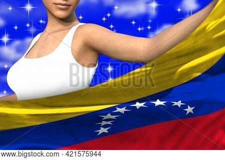 Pretty Woman Is Holding Venezuela Flag In Front Of Her On The Blue Colorful Clouds - Flag Concept 3d