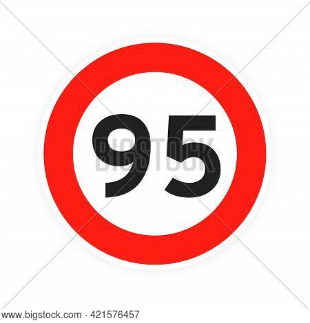 Speed Limit 95 Round Road Traffic Icon Sign Flat Style Design Vector Illustration Isolated On White