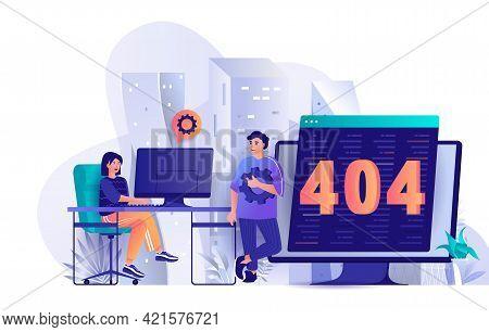 404 Page Error Concept In Flat Design. Error Accessing Webpage Scene Template. Technical Support Tea