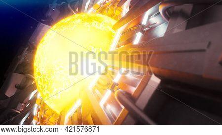An energy plasma ball science fiction 3D illustration