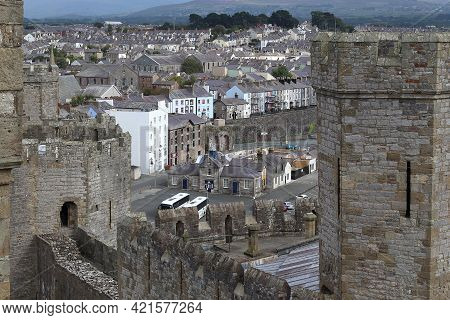 Caernarfon, Great Britain - September 14, 2014: This Is A View Of The Welsh City From The Height Of