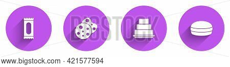 Set Candy, Cookie Or Biscuit, Cake And Macaron Cookie Icon With Long Shadow. Vector
