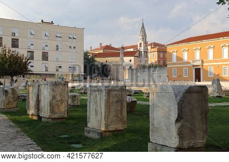 Zadar, Croatia - September 14, 2016: These Are The Ruins Of The Ancient Roman Forum On An Autumn Eve