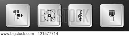 Set Air Headphones, Vinyl Disk, Treble Clef And Drum Icon. Silver Square Button. Vector