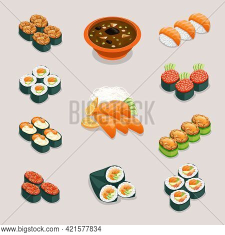 Asia Food Icons. Rolls And Sushi, Miso Soup And Sashimi. Restaurant And Tasty Menu, Japanese Or Chin