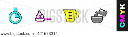 Set Stopwatch, Frying Pan, Measuring Cup And Saucepan Icon. Vector