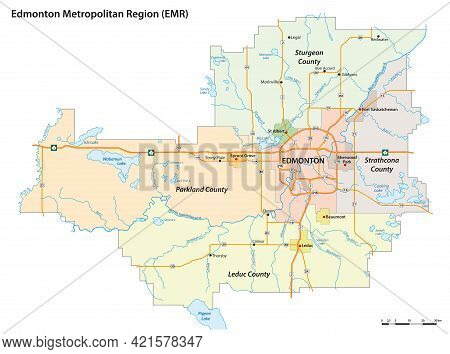 Administrative Vector Map Of The Edmonton Metropolitan Region, Alberta, Canada