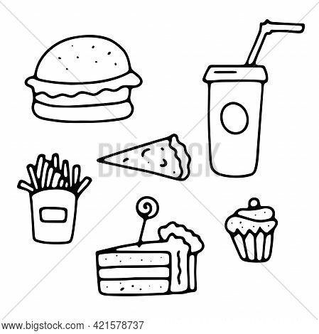 Doodle Cafe Signs Set. Outline Fast Food, Sweets Isolated On White Background. Cheat Meal Menu Sign.